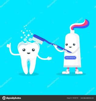 Cute happy smiling toothpaste rubs tooth with toothbrush. Flat vector cartoon character illustration. Care of teeth. Dental concept for children dentistry. Prevention of diseases of oral cavity.